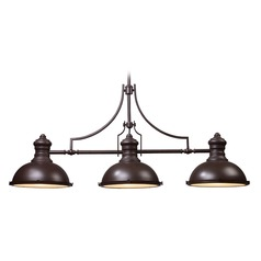 Elk Lighting Chadwick Oiled Bronze LED Billiard Light with Bowl / Dome Shade