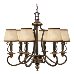Colonial Bronze Chandelier with Six Lights