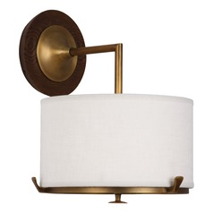 Mid-Century Modern Sconce Brass / Walnut Wood Edwin by Robert Abbey