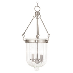 Livex Lighting Coventry Brushed Nickel Pendant Light with Fluted Shade