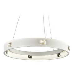 PLC Lighting Lumium White LED Pendant Light with Drum Shade