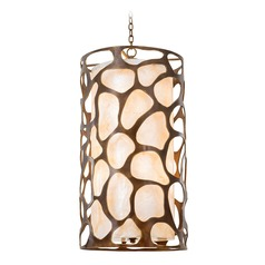 Kalco Gramercy Copper Patina Pendant Light with Cylindrical Shade
