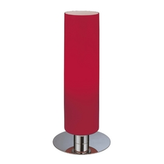 Modern Table Lamp with Red Glass in Chrome Finish