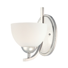 Quoizel Lighting Modern Sconce with White Glass in Imperial Silver Finish CTR8701IS