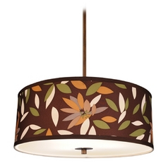 Floral Drum Shade Pendant Light in Bronze Finish