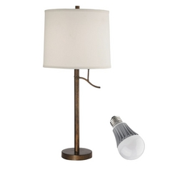 Bronze Table Lamp with Drum Shade and LED Light Bulb