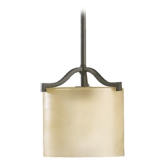 Quorum Lighting Atwood Oiled Bronze Mini-Pendant Light with Cylindrical Shade