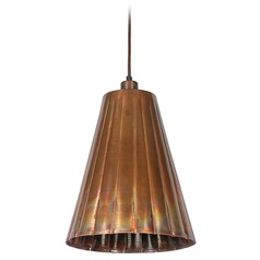 Kenroy Home Lighting Flute Flamed Copper Mini-Pendant Light with Empire Shade