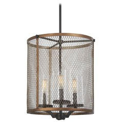 Minka Lavery Smoked Iron with Aged Gold Pendant Light with Cylindrical Shade