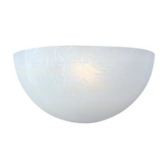 Sconce Wall Light with White Glass in White Finish