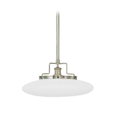Modern Pendant Light with White Glass in Polished Nickel Finish