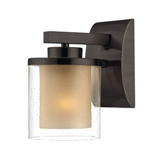 Modern Sconce Wall Light with Amber Glass in Bolivian Bronze Finish