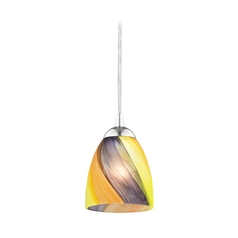 Modern Mini-Pendant Light with Art Glass in Chrome Finish