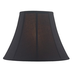 Black Bell Fabric Lamp Shade with Piping and Spider Assembly