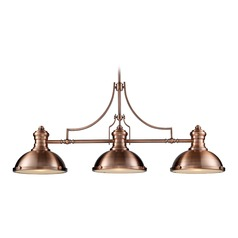 Elk Lighting Chadwick Antique Copper LED Billiard Light with Bowl / Dome Shade