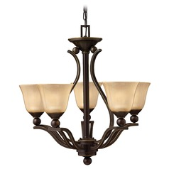 Chandelier with Amber Glass in Olde Bronze Finish