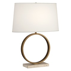 Robert Abbey Logan Aged Brass W/ Travertine Stone Base Table Lamp with Oval Shade