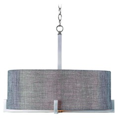 Kenroy Home Lighting Wiley Brushed Steel Pendant Light with Drum Shade