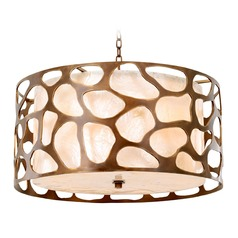 Kalco Gramercy Copper Patina Pendant Light with Drum Shade