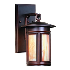 Outdoor Wall Light with Iridescent Glass in Oil Rubbed Bronze Finish