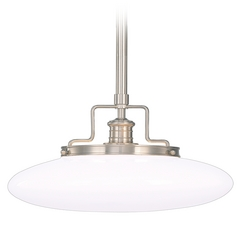 Modern Pendant Light with White Glass in Satin Nickel Finish