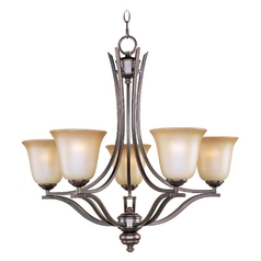 Maxim Lighting International Chandelier with Beige / Cream Glass in Oil Rubbed Bronze Finish 10175WSOI