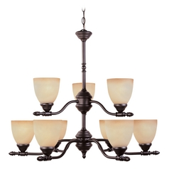 Chandelier with Amber Glass in Oil Rubbed Bronze Finish