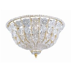Crystorama Lighting Crystal Flushmount Light with Clear Glass in Burnished Gold Finish 218-BG-CL