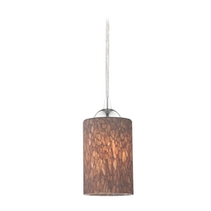 Design Classics Lighting Modern Mini-Pendant Light with Brown Art Glass 582-26 GL1016C