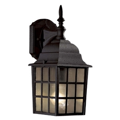 Outdoor Wall Light with Brown Glass in Black Finish