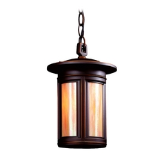 Outdoor Hanging Light with Iridescent Glass in Oil Rubbed Bronze Finish