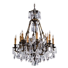 Crystal Chandelier in Oxidized Brass Finish