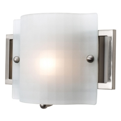 Modern Sconce with White Glass in Brushed Steel Finish