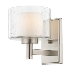 Modern Satin Nickel Sconce with Satin White and Clear Seeded Glass