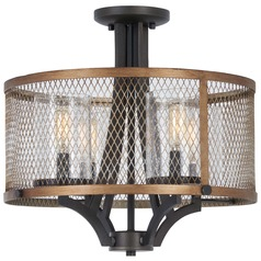 Minka Lavery Marsden Commons Smoked Iron with Aged Gold Semi-Flushmount Light