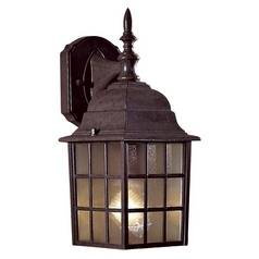 Outdoor Wall Light with Brown Glass in Antique Bronze Finish