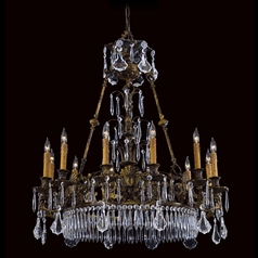 Crystal Chandelier in Brass Finish