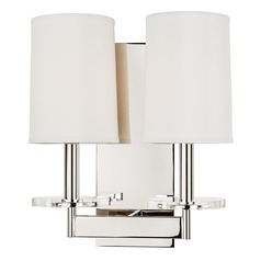 Modern Sconce Wall Light with White Shades in Polished Nickel Finish