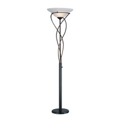 Lite Source Lighting Majesty Bronze Torchiere Lamp with Bell Shade