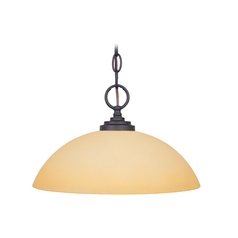 Pendant Light with Beige / Cream Glass in Oil Rubbed Bronze Finish