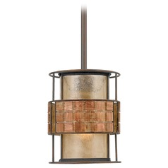 Laguna Mica Mini-Pendant Light with Mosaic Tile Band