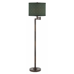 Swing Arm Lamp with Green Shade in Bronze Finish