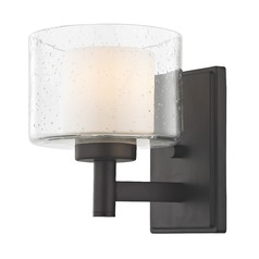 Modern Neuvelle Bronze Sconce with Satin White and Clear Seeded Glass