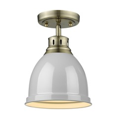 Golden Lighting Duncan Aged Brass Semi-Flushmount Light with Grey Shade