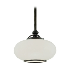 Pendant Light with White Glass in Old Nickel Finish