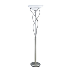 Modern Torchiere Lamp with Alabaster Glass in Satin Steel Finish