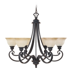 Chandelier with Beige / Cream Glass in Natural Iron Finish