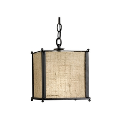 Modern Mini-Pendant Light with Brown Grasscloth Shade