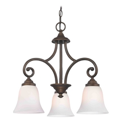 Mini-Chandelier with White Glass in Neuvelle Bronze Finish