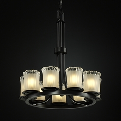 Justice Design Modern 9-Light Chandelier with White Glass in Matte Black
